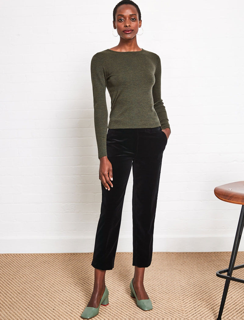 khaki round neck jumper