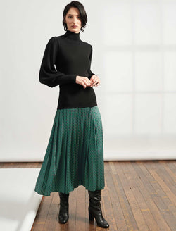 Sienna Pleated Maxi Skirt - Emerald Green Circle Geo Print