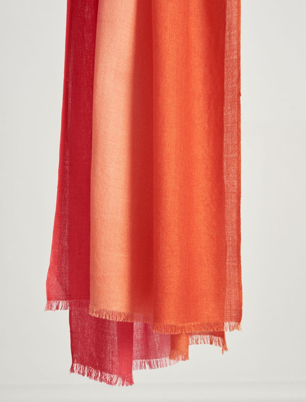 Sidney Ombre Merino Wool Scarf - Crimson/Burnt Orange
