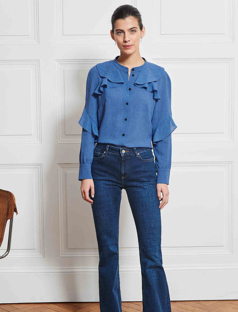 Ava Long Sleeve Ruffle Shirt - Cornflower Blue