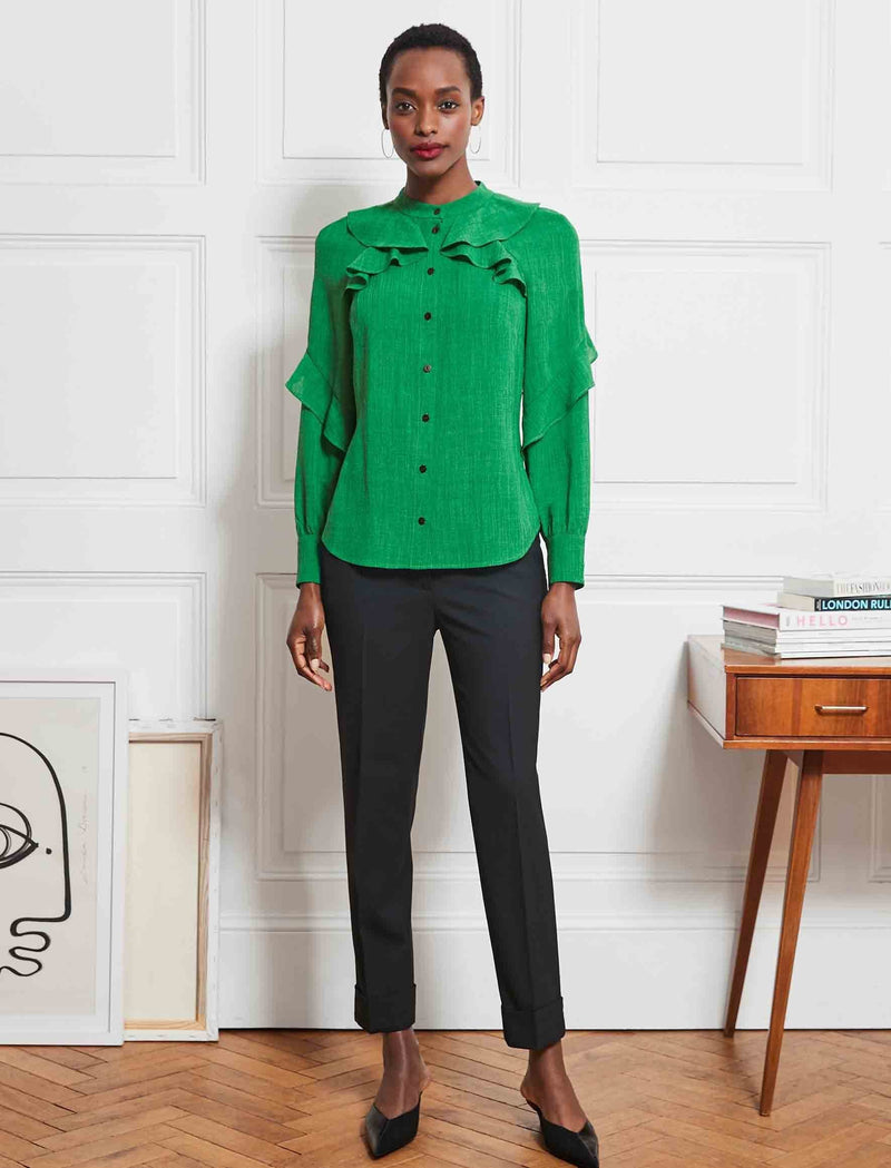 Ava Long Sleeve Ruffle Shirt - Emerald Green