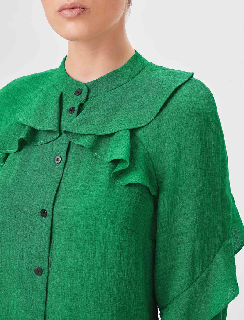 ruffle top emerald green