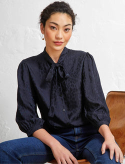 Willow Silk Blend Pussy-Bow Shirt - Navy Leopard Jacquard