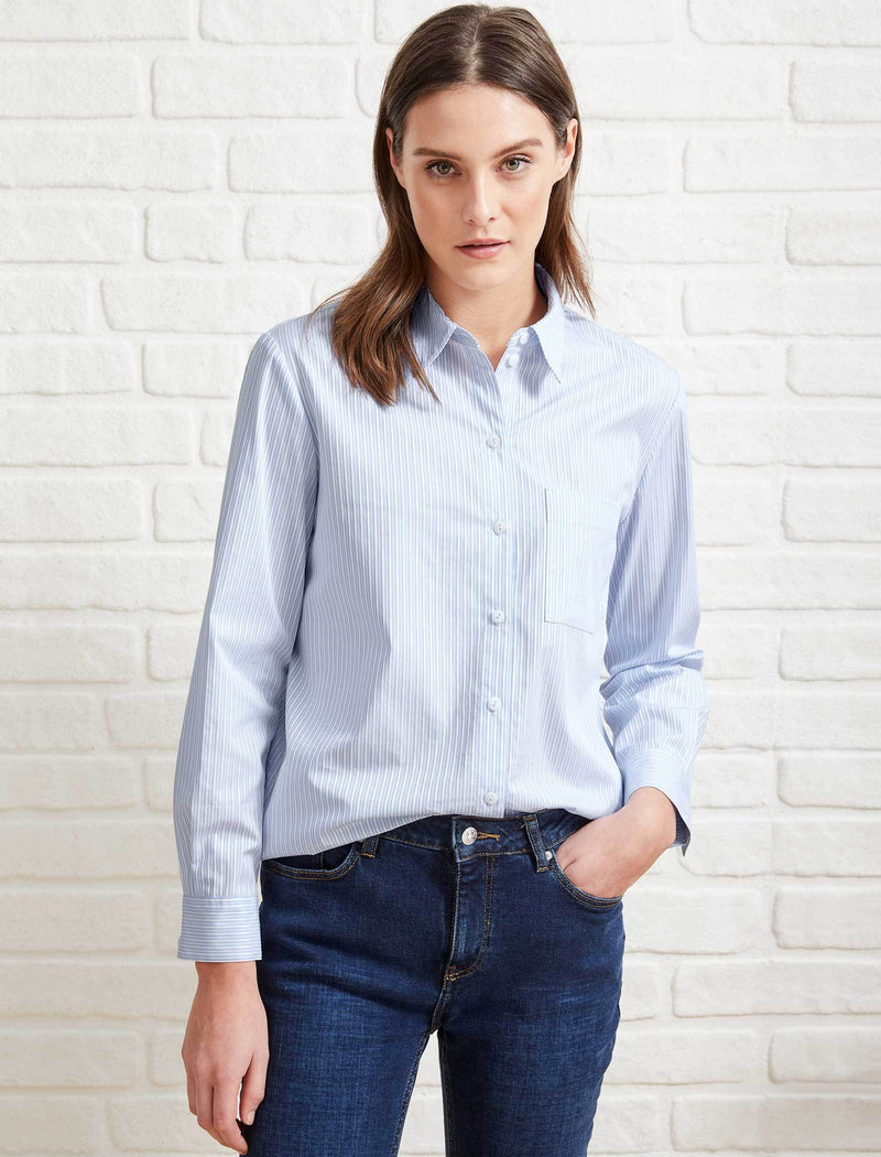 Skyla Cotton Long Sleeve Shirt - Light Blue/White