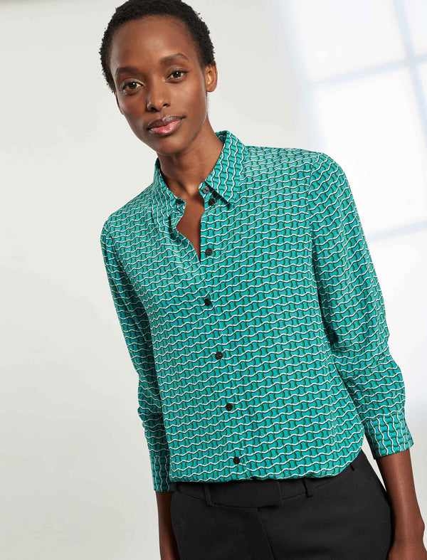 Skyla Long Sleeve Silk Shirt - Mint Green Circle Geo Print
