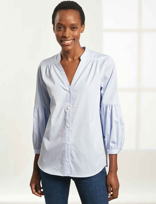 Ella V-Neck Cotton Gathered Blouson Sleeve Shirt - Light Blue/White Stripe