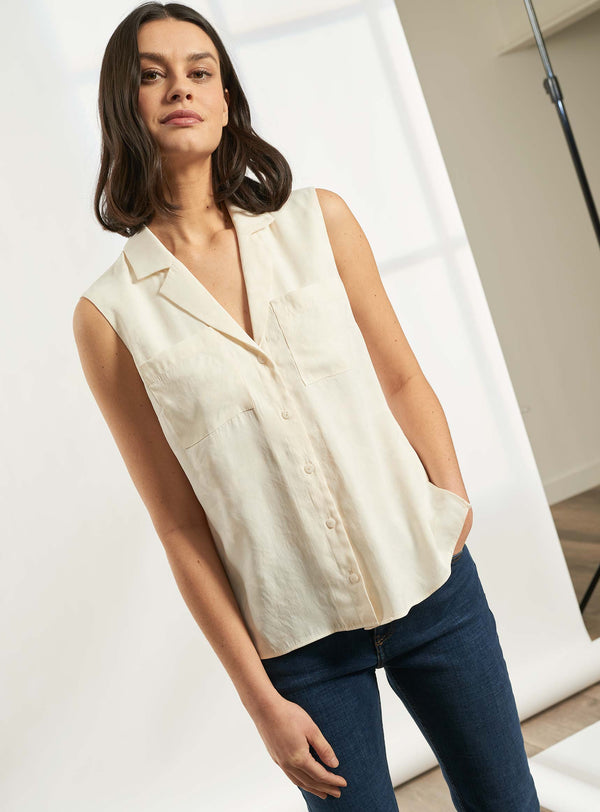 Spencer Sleeveless V-Neck Collared Shirt - Cream Camo Jacquard