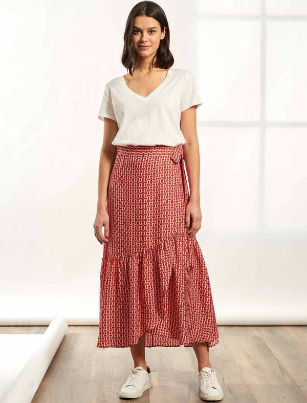 Lola Maxi Wrap Skirt with Frill - Crimson Circle Geo Print