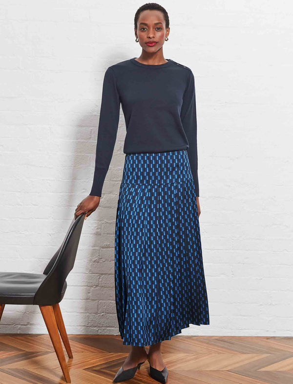 navy pleated midi skirt