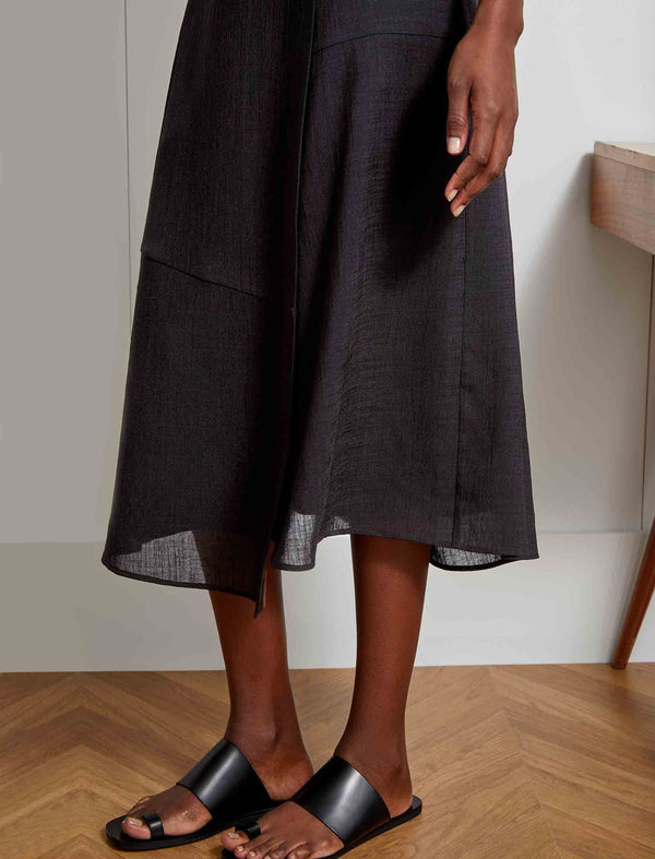 Alix Panelled Asymmetric Maxi Skirt - Black
