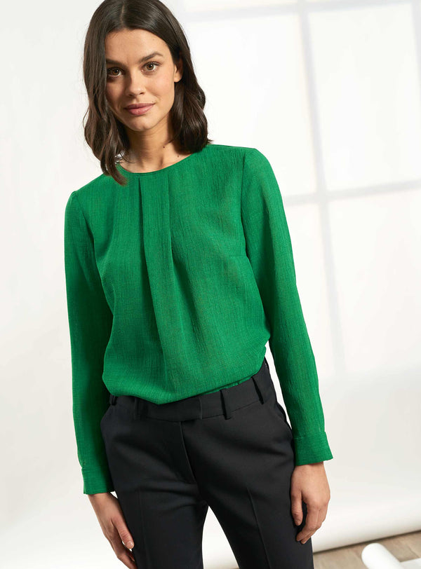 Brooke Long Sleeve Round Neck Blouse - Emerald Green