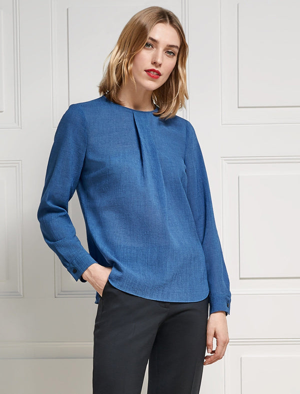 Brooke Long Sleeve Round Neck Blouse - Cornflower Blue