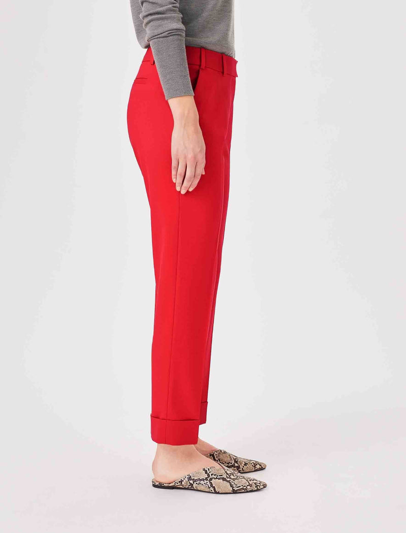 wool blend trousers red