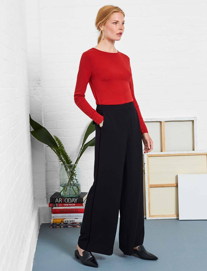 Black Wide Leg Trouser With Contrast Piping | Women's Wide Leg Trousers UK