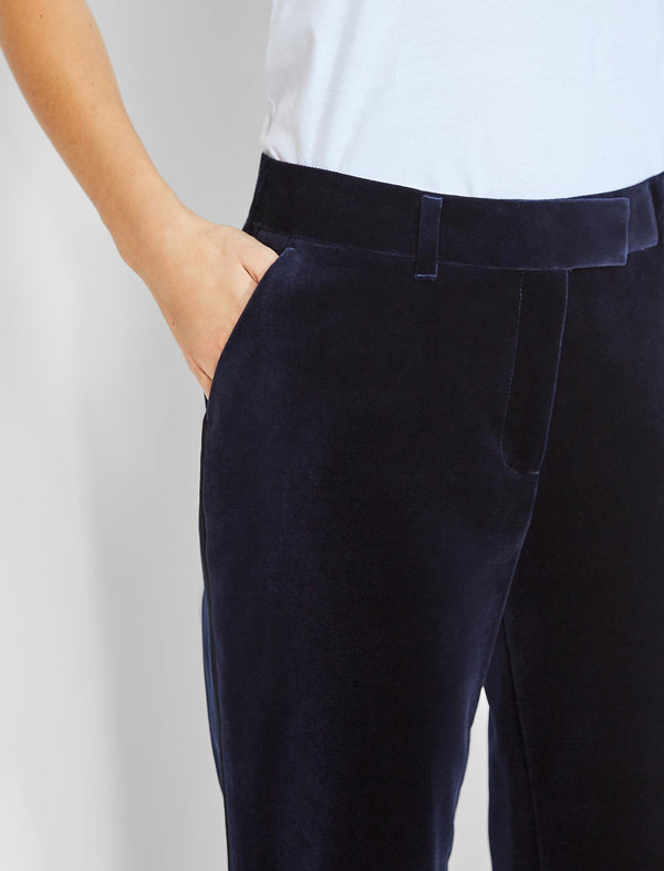 Tatum Velvet Trouser With Piping - Navy