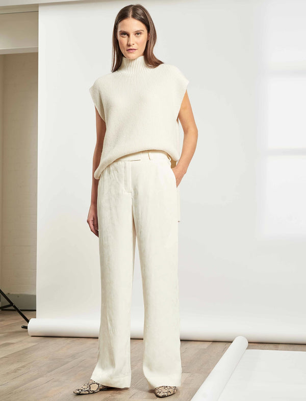 Terence Easy Wide Leg Trouser - Cream Camo Jacquard
