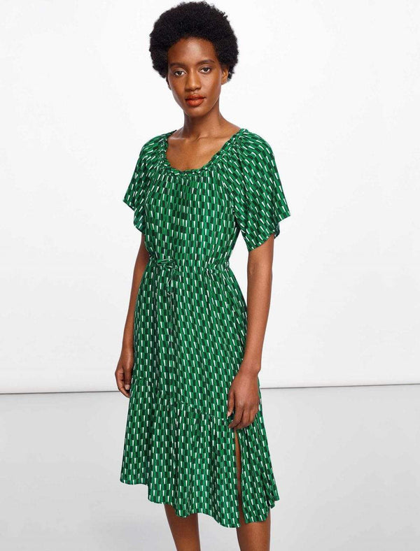 Gathered Shoulder Emerald Drawstring Midi Dress | Drawstring Dress Green Print