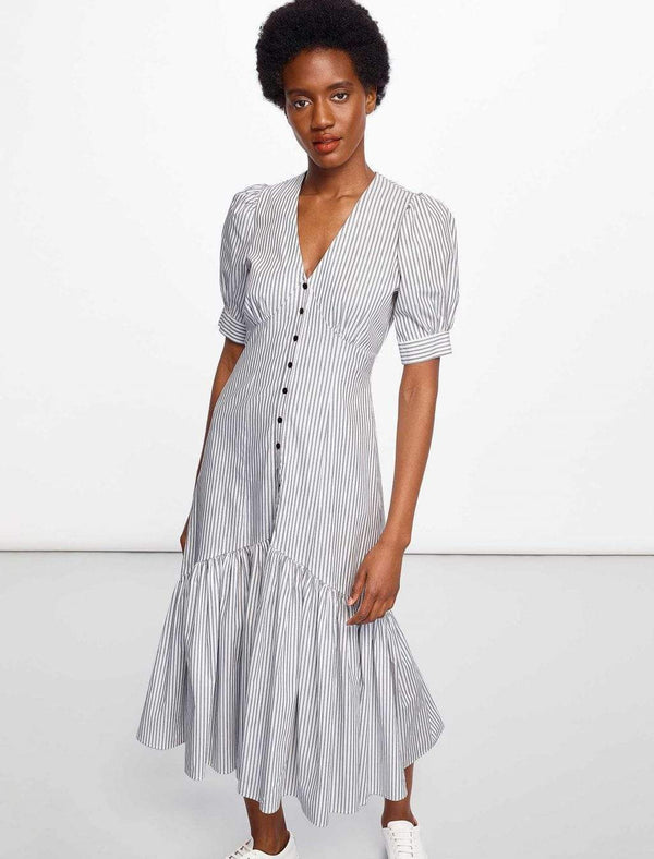 Esme Cotton Maxi Dress - Black/White Stripe