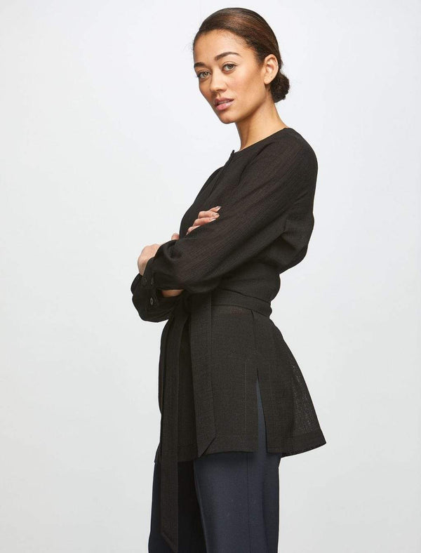 Long Sleeve Shirt With Wide Belt - Black