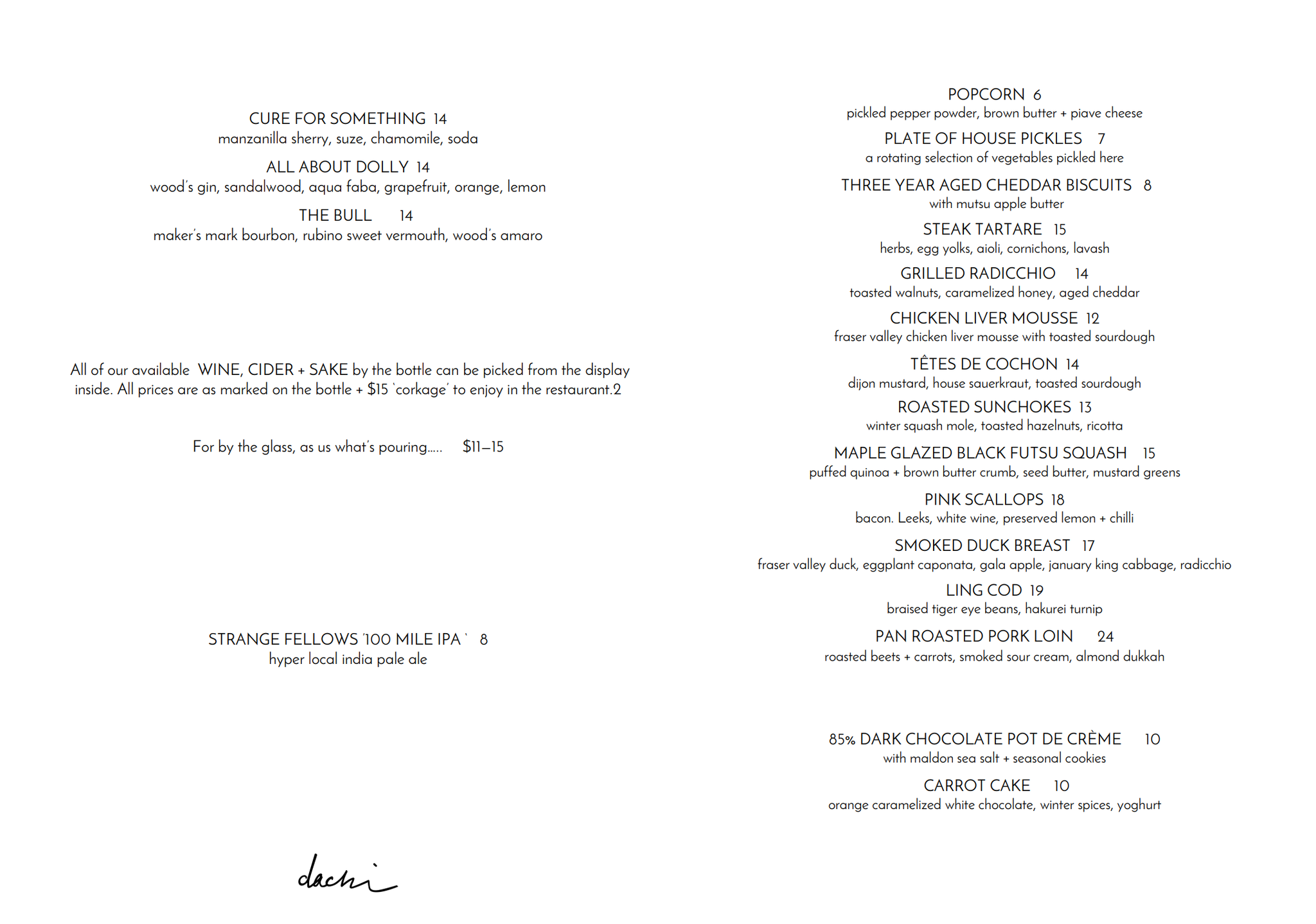 Dachi Patio Menu in Hastings Sunrise, Vancouver. Farm to table food.