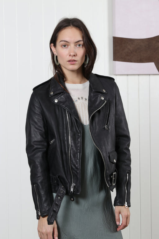 Schott NYC Vintaged Motorcycle Jacket Black