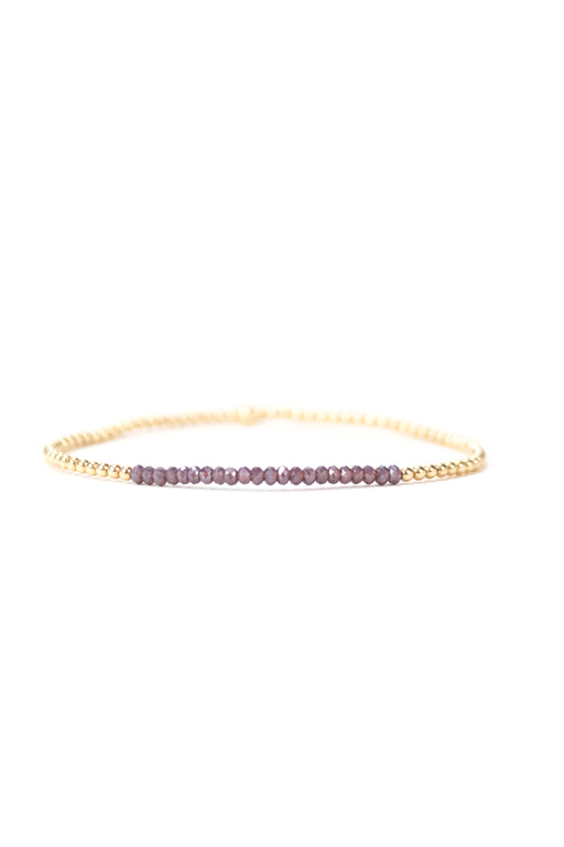 2mm Purple Crystal Beaded Bracelet