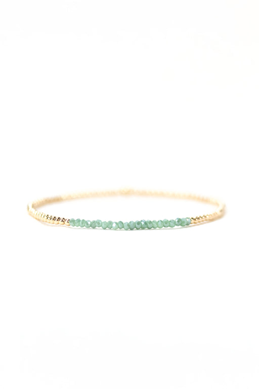 2mm Green Crystal Beaded Bracelet
