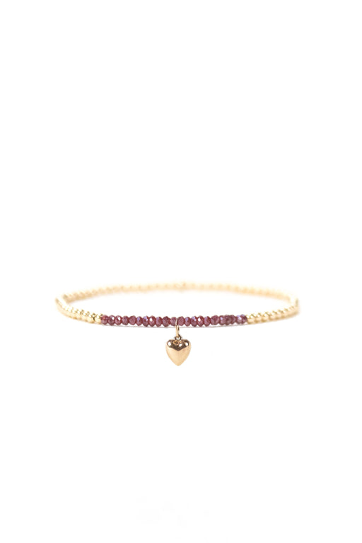 2.5mm Ruby Heart Beaded Bracelet