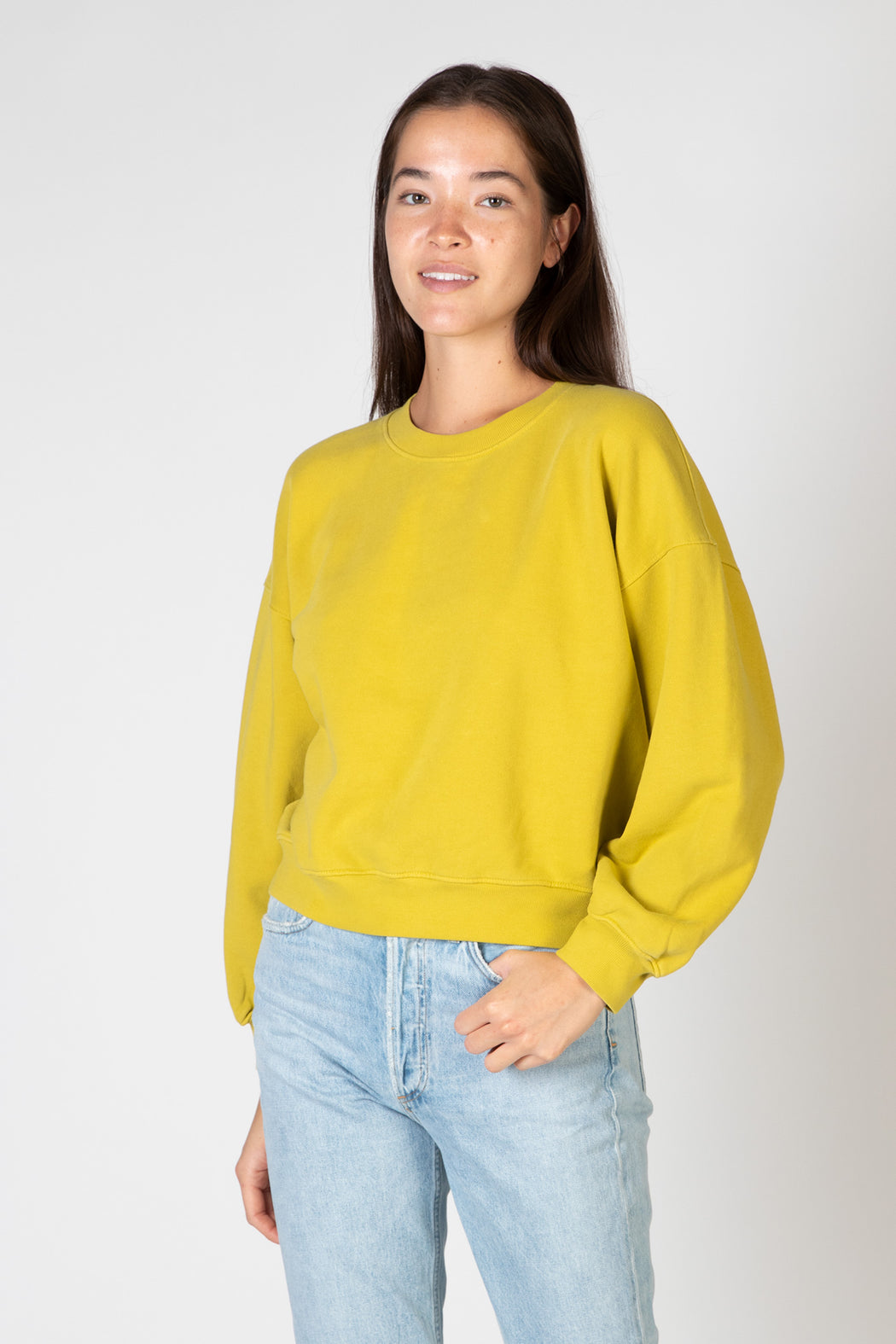 AGOLDE-Balloon-Sleeve-Sweatshirt-Split-Pea