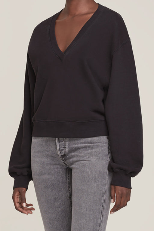 V Neck Balloon Sleeve Sweatshirt