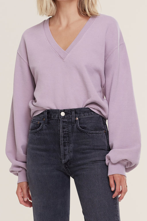 AGOLDE-V-Neck-Balloon-Sleeve Sweatshirt-Taro
