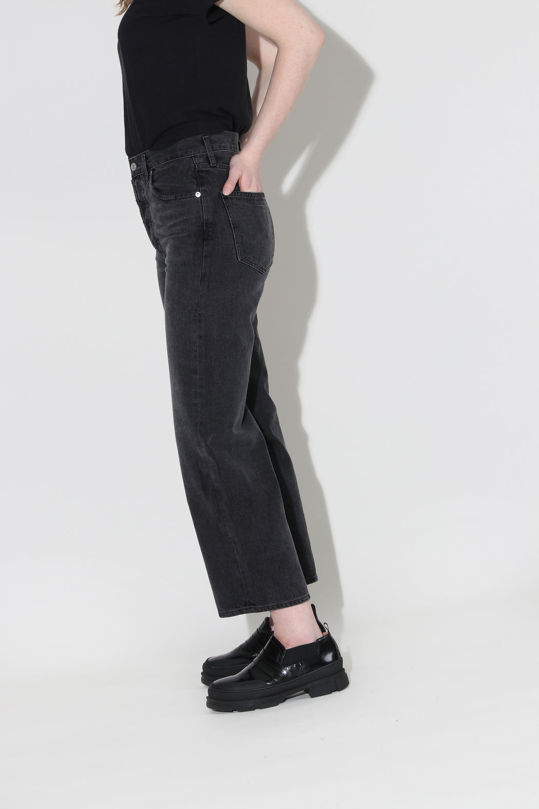 Agolde Ren High Rise Wide Leg Grey Smoke