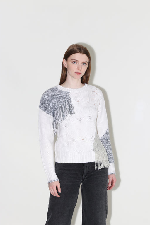 Autumn Cashmere Cable Patchwork Fringe Crew Chalk Pebble