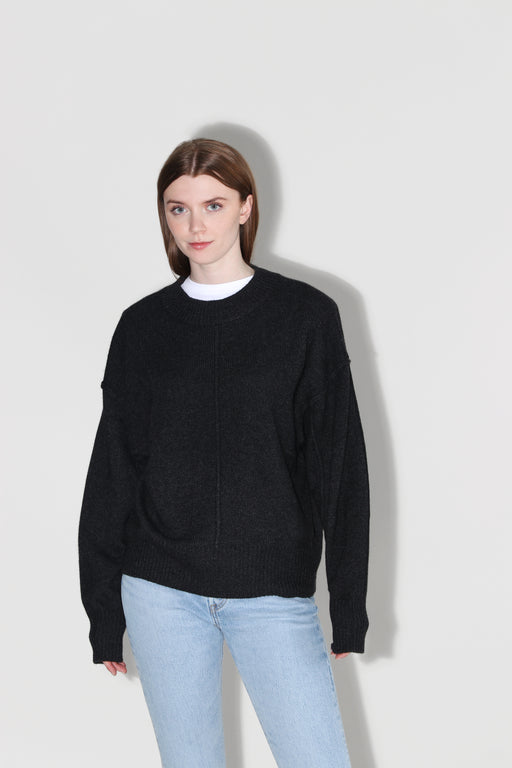 Autumn Cashmere Oversized Crew Exposed Seams Anthracite