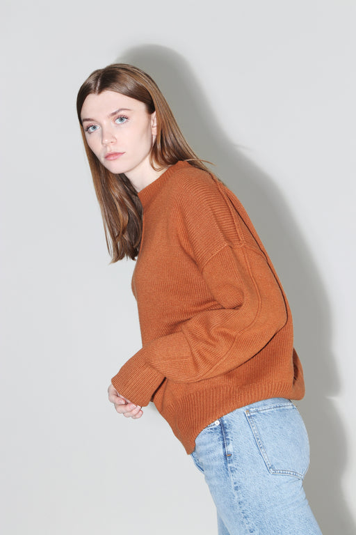 Autumn Cashmere Oversized Exposed Seam Crew Pullover Cinnamon