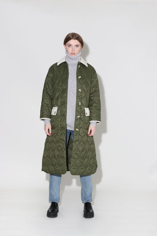 Barbour Alexa Chung Annie Quilt Jacket Military Green