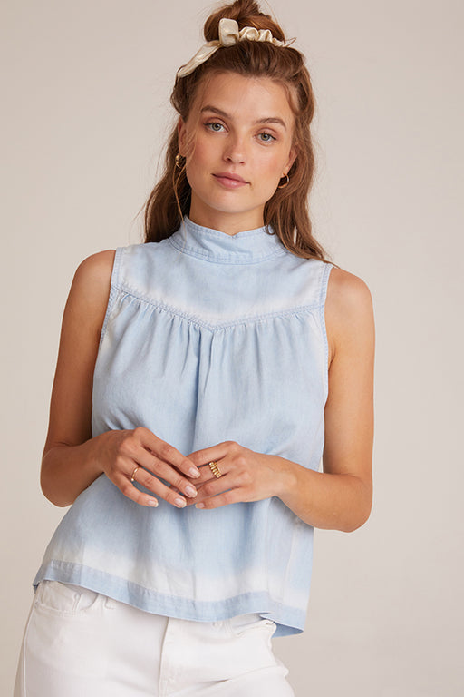 Bella Dahl Mock Neck Button Back Blouse Denim