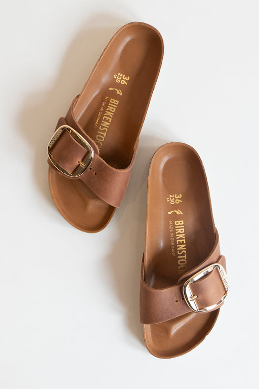 Birkenstock Madrid Big Buckle Sandal Cognac Oiled Leather