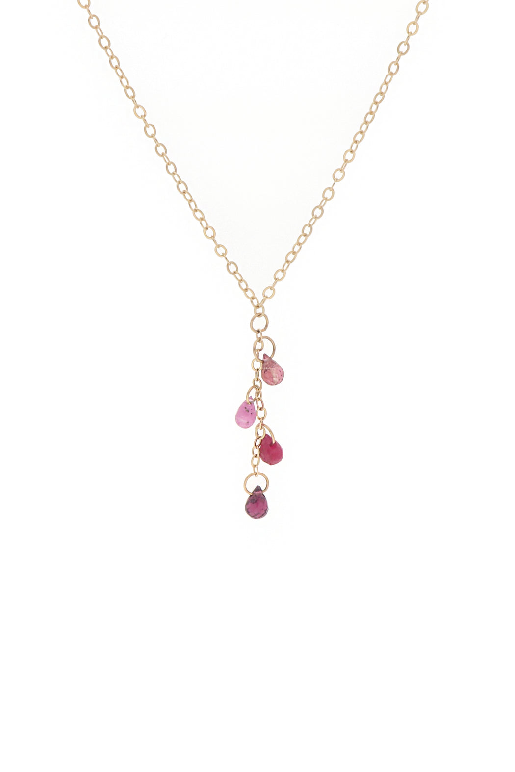 Blue Ruby Cause We Care Stone Gold Lariat Necklace
