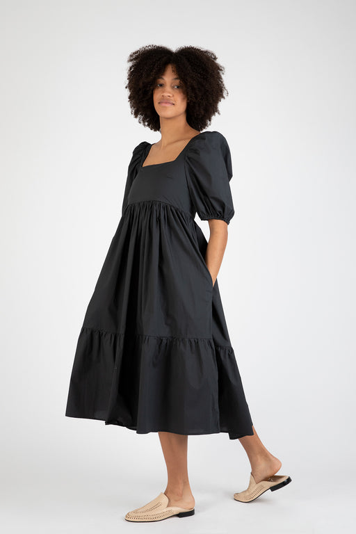 Bronze-Age-Serenity-Puff-Sleeve -Dress-Black\