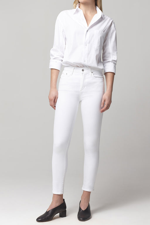 Citizens of Humanity Rocket Crop Mid Rise Skinny Fit in White Sculpt