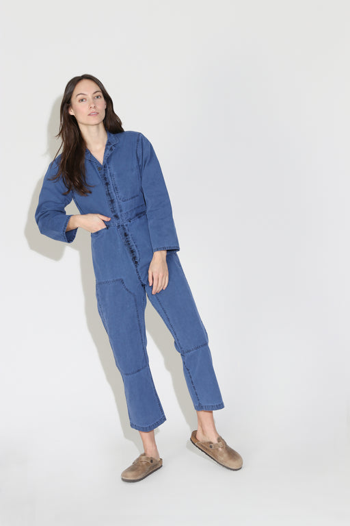 Caron Callahan Fincher Jumpsuit Blue Cotton Canvas