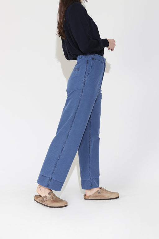 Caron Callahan Greene Pant in Blue Cotton Canvas