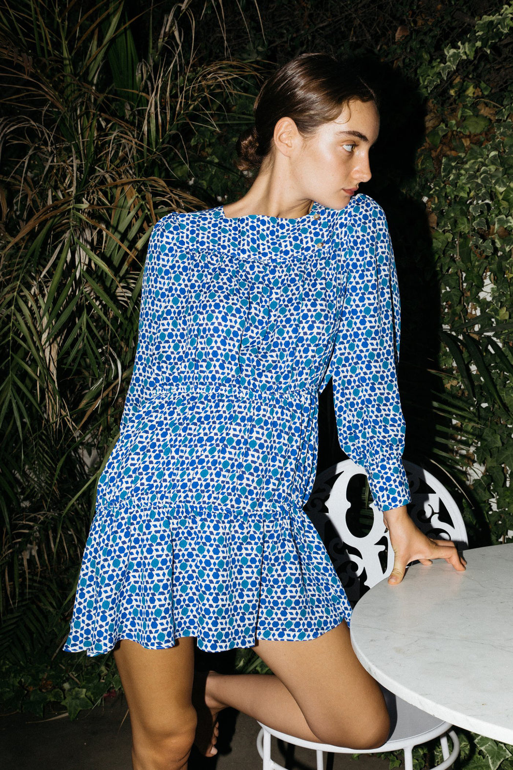 Ciao Lucia Alessandra dress blue tile print