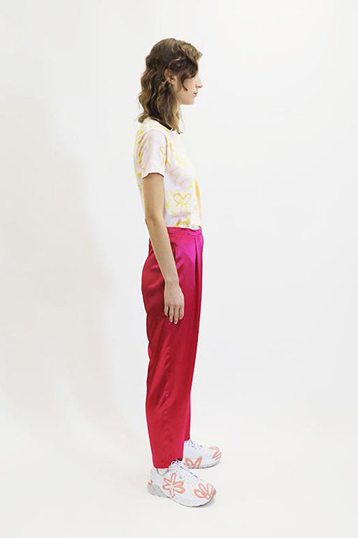 Collina Strada Satin Charlie Pant in Hot Pink