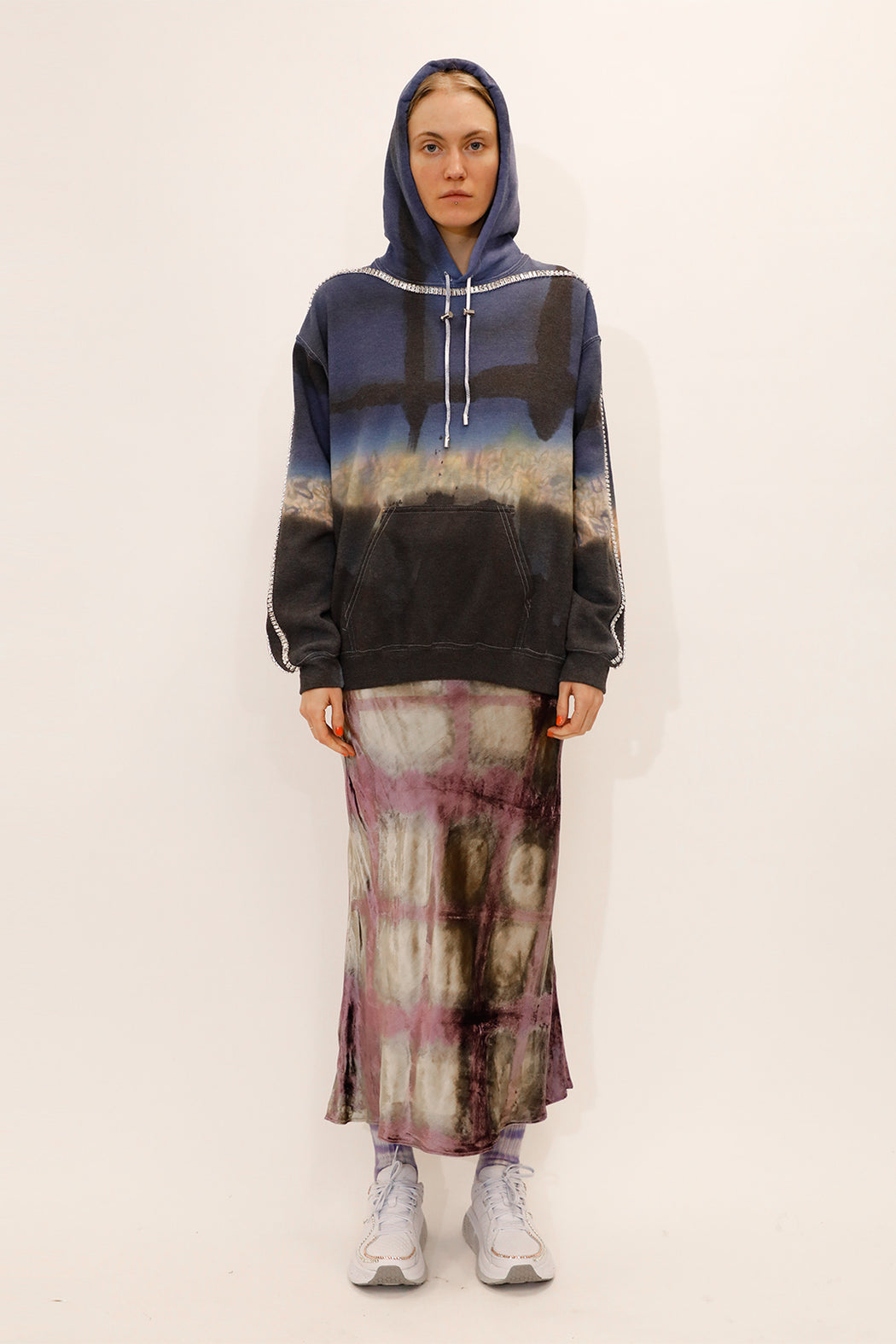 Collina-Strada-Sporty-Spice-Hoodie-Navy-Floral-Grid