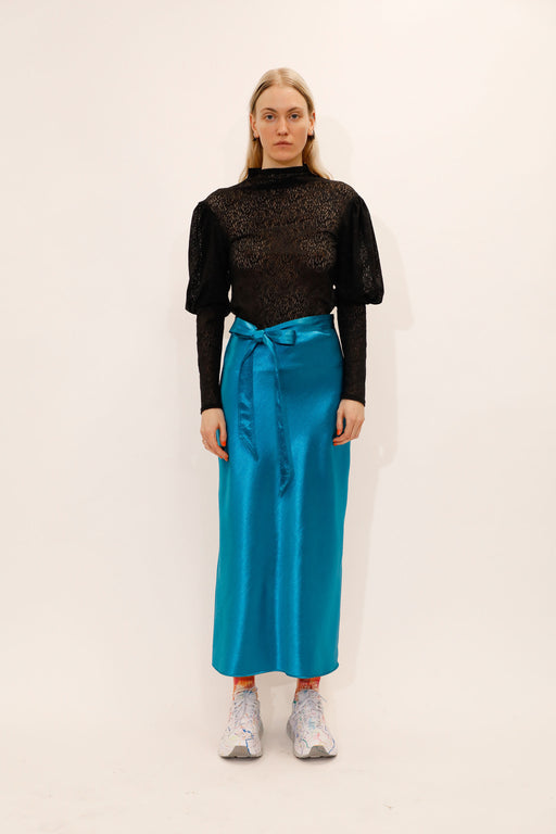 Collina-Strada-Yod-Satin-Skirt-Teal