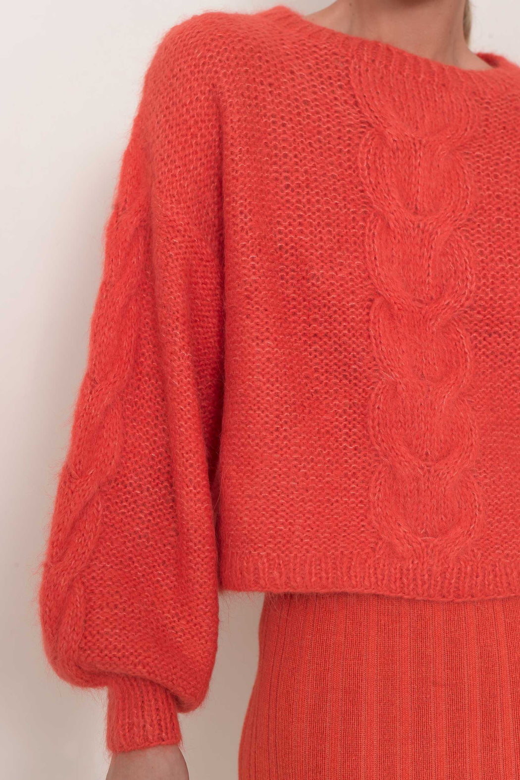Eleven Six Sophia Crewneck Sweater Hot Coral