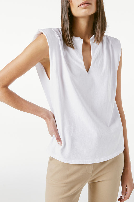 FRAME-Padded-Shoulder-V-Neck-Blanc