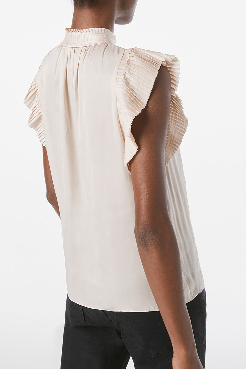 FRAME Pleated Sleeveless Keyhole Top Parchment